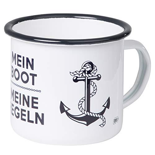 Mein Boot Meine Regeln - Hochwertiger Emaille Becher - mit maritimen Anker Design für Segler und Boot Liebhaber - leicht und robust - von MUGSY.de Geschirr Für Boote