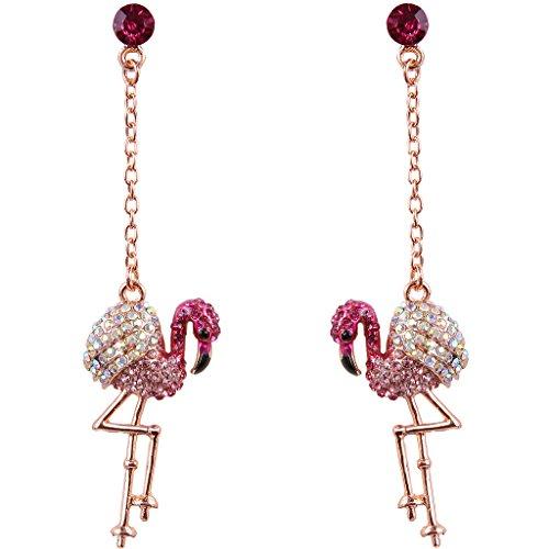 EVER FAITH® Rose Gold-Ton österreichische Kristall Art Deco Lovely Flamingo Vogel Pierced Dangle Ohrringe Pink N06611-3