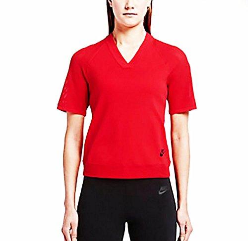 Nike Top Tech Knit-T-Shirt-Femme Rojo / Negro (UNIVERSITY RED/BLACK)