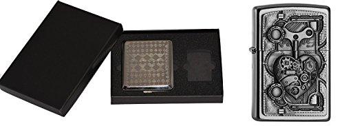 Zippo STEAM PUNK HEART im Zigaretten Etui Geschenk Cigarette Case Gift Set Sturmfeuerzeug, Chrom, Silber, 15 x 10 x 5 cm