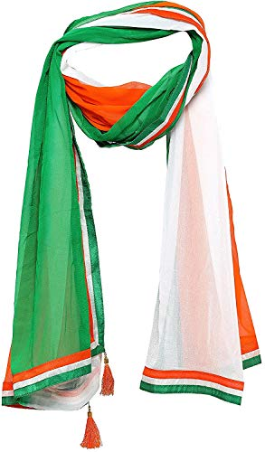 STAR WORK Men And Women, Light Weight Soft Chiffon Feel, Independence Day Special, Republic Day Special, Dupatta, Tri Color/Tiranga Chiffon Dupatta - Women's Chiffon Dupatta (Tiranga-1, Multicolour, Free Size)