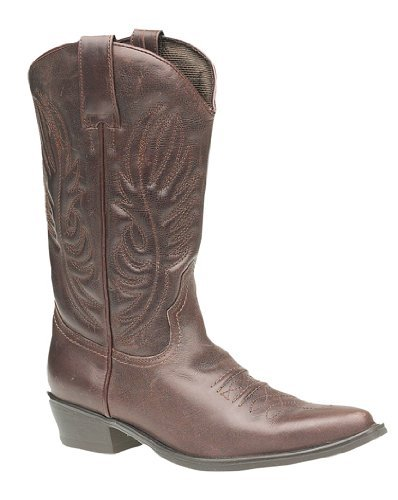 Gringos Men's KANSAS Western Cowboy Boots 10 UK Brown (Leder Cowboy Distressed Stiefel Herren)