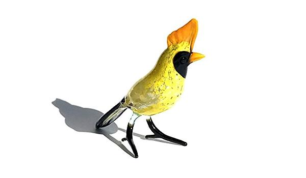 Vogel Braun Gelb Glasfigur 6-16-5 Wiedehopf Figur aus Glas Deko