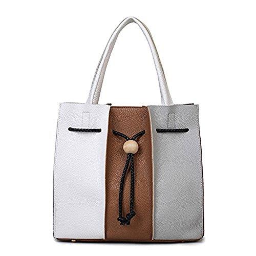 Meoaeo Il Nuovo Colore Goffrato Sacchetti Sono Portable Bianco Brunastro Brownish white
