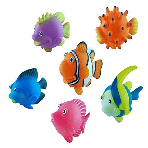 BOHS Verschiedene 6pcs Fisch Spritzen - Netter Schwimm Cartoon Weich - Meerestier Models- Baby-Bad-Spiele Badewanne Spielzeug