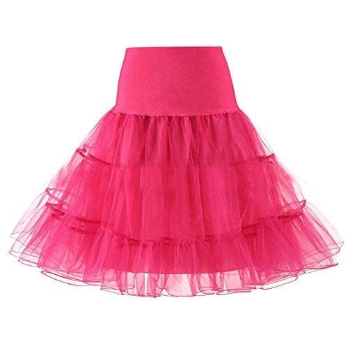 Märchen Barbie Kostüm - URVIP Wedding Bridal 1950 Petticoat Reifrock Unterrock Petticoat Crinoline für Rockabilly Kleid Fuchsie X-Large