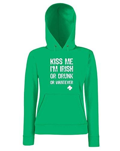 T-Shirtshock - Sweatshirt a capuche Femme TIR0056 funny kiss me im dark tshirt Vert