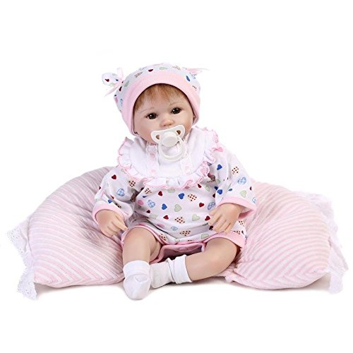 Nicery Reborn Bambino Bambola Morbido Silicone Vinile Da 18 Pollici 45 Centimetri Magnetica Bocca Realistica Della Ragazza Del Giocattolo Bianco Bib Cuscini Occhi Aperto Baby Doll A3IT