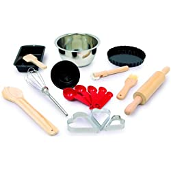 """Small Foot Company 5302 Kit de cuisson """"Deluxe"""", 18 pièces, Accessoires de cuisine pour enfants, Supplément pour cuisine pour enfants et boutique marchande"""
