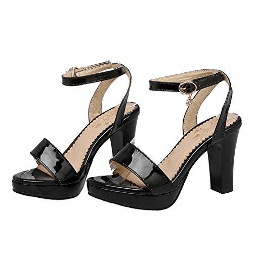 AIYOUMEI Damen Lackleder Knöchelriemchen Slingback Sandalen mit Schnalle Blockabsatz Sommer Schuhe Schwarz