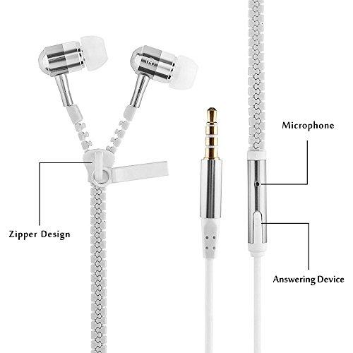 CASVO Sony Xperia XA2 Compatible Zipper Metal in Ear Headphones (White)