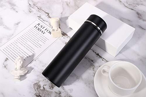 SUMHOM Business Office Straight Cup Männer und Frauen Casual Werbegeschenk Tasse Doppel Edelstahl Isolierflasche, 500ml, schwarz