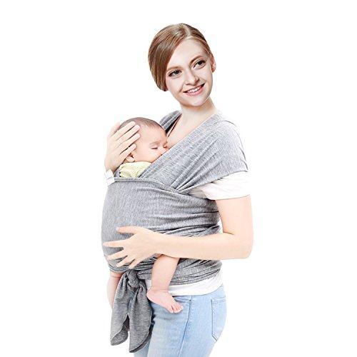 Amzdeal Baby Tragetuch Babytragetuch Bauchtrage Babytrage elastische Tragetuch Träger Baby Wrap Tragehilfe Baby Carrier Sling 5m bis 15kg belastbar(Schwarz/Grau) (Grau)