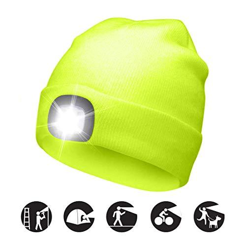 ATNKE LED beleuchtete Mütze, wiederaufladbare USB-Laufmütze mit extrem Heller 4-LED-Lampe und Blinkender Alarmscheinwerfer/Fluoreszierendes gelb
