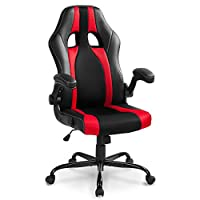 LIFE CARVER High back Padded Adjustable Chair Home Office PC Seat Executive Manager Swivel Chair (black&red)