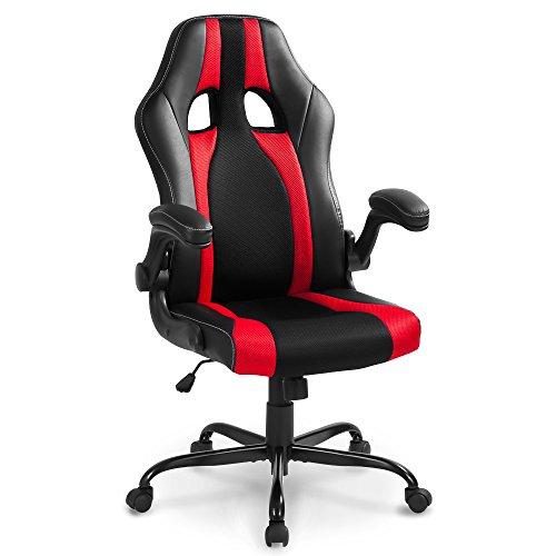 Life carver®, sedia da scrivania con braccioli, per casa o ufficio, per lavoro o videogiochi al pc, colore rosso e nero