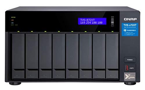 QNAP TVS-672XT Ethernet Torre Negro NAS - Unidad Raid (Unidad de Disco Duro, SSD, M.2,Serial ATA III, 2.5,3.5,M.2, 0, 1, 5, 6, 10, 50, JBOD, FAT32,HFS