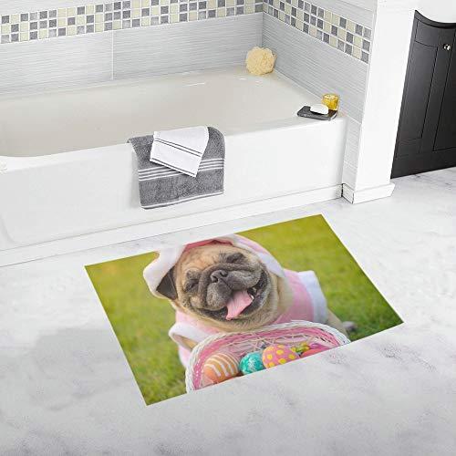 ZHANGhome Kitz Mops Hund trägt Kaninchen Kostüm benutzerdefinierte rutschfeste Badematte Teppich Bad Fußmatte Boden Teppich für Badezimmer 20 X 32 Zoll (Teen Hunde Kostüm)
