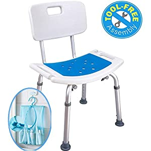 Taburete de ducha Medokare con asiento acolchado – Asiento de ducha para personas mayores con bolso, Silla de baño de…