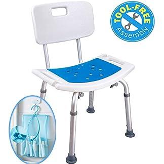 Taburete de ducha Medokare con asiento acolchado – Asiento de ducha para personas mayores con bolso, Silla de baño de banco de ducha, Asientos de ducha para minusválidos para adultos (White Chair)