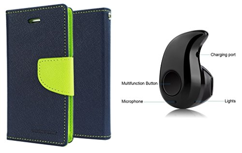Epayista Mercury Goospery Fancy Diary Card Wallet Flip Case Back Cover for Sony Xperia M/ C 1905 (Blue & Green) + Premium Design Mini Style Wireless Bluetooth Headphone Can Talk & Listen to Music (S530 V4.0 )  available at amazon for Rs.449
