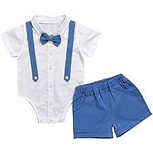 Puseky - Conjunto formal para bebé con pantalón corto y camisa con pajarita y tirantes