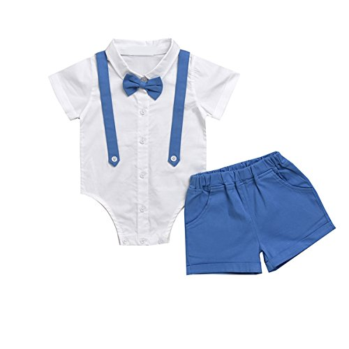 Puseky Baby-Strampler in Hemd-Optik, für den kleinen Gentleman, Hemd mit Fliege + kurze Hose, Set für besondere Anlässe (Sse Kurz)