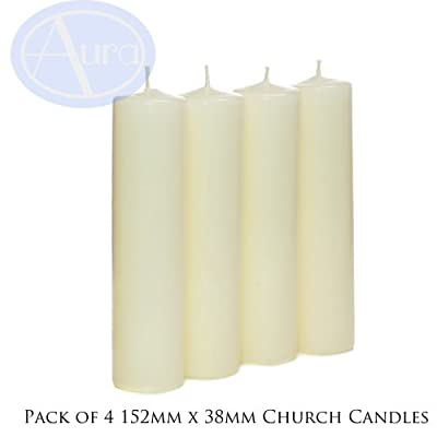 PACK of 4 - Ivory Church Candles (38mm x 152mm) from Aura Essential Oils