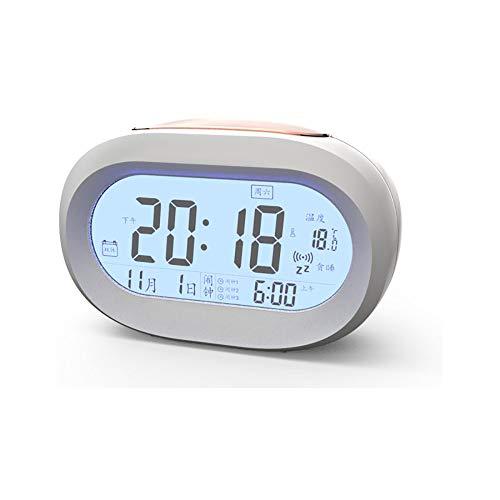 XBR Kleiner Wecker Mini Mit Nachtlicht Kalender Temperatur Zeit Smart Sensor Musik Snooze Hintergrundbeleuchtung Geeignet FüR Schlafzimmer Wohnzimmer Kindergarten, Blue -
