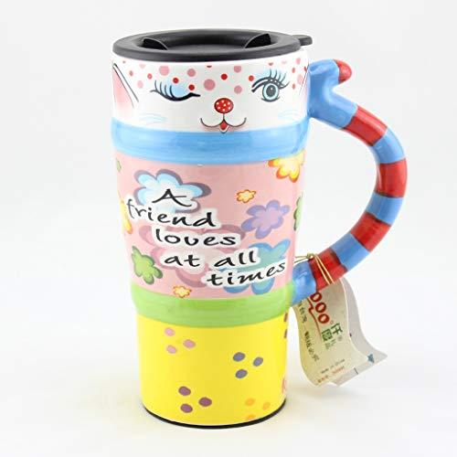 CJH Tasse De Chat Peint Tasse De Animal Mignon Avec Couvercle Avec Tasse À Café En Céramique Tasse De Couple Créative Tasse I