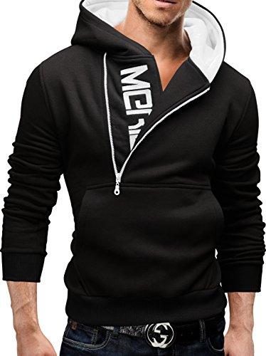 Merish-Felpa-con-Cappuccio-Uomo-Slim-Fit-Sweatshirt-08-Nero-S