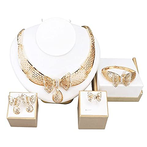 African Costume Gold Plated Jewelry Set Fashion Dubai Rhinestone Bow Necklace (SILVER)