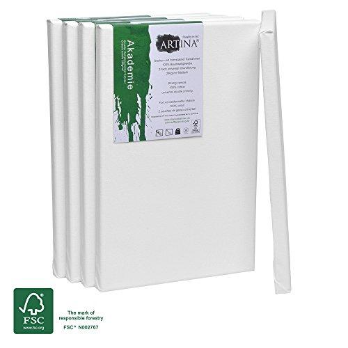 Artina - Châssis entoilé certifié FSC - Toile à Peindre - Akademie - Qualité Fine - Apprêtée 2 Fois - Lot de 5-20x30cm - 280g/m²
