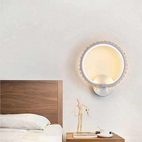 Fan Snow Weiße runde quadratische Schlafzimmer Fernsehwandwohnzimmer Nachttischhintergrundkristallwandlampen-Luxuxlicht LED Wandlampe des Hauptluxus (Color : Round) - Runde, Weiße Glasschirm