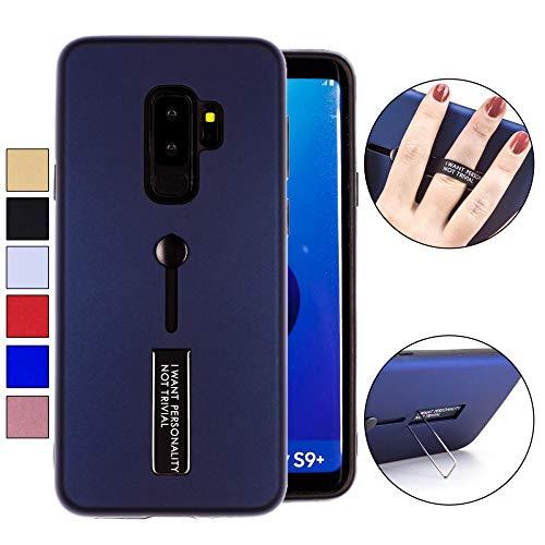 COOVY® Cover für Samsung Galaxy S9 + Plus SM-G965F / SM-G965F/DS Bumper Case, Doppelschicht aus Plastik + TPU-Silikon mit Halteschlaufe, Standfunktion | Farbe blau -