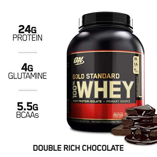 Optimum Nutrition Gold Standard 100% Whey Proteine del Siero di Latte in Polvere, Gusto Doppio Cioccolato - 2273 gr