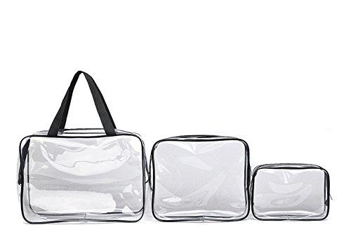Lot de 3 sac Comestic Transparent clair Trousse de toilette de voyage portable Maquillage Sac pochette en PVC avec poignée Sangles étanche de stockage de voyage Sacs d'emballage pour femmes filles