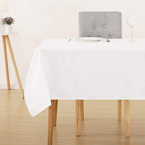 Deconovo Mantel Cuadrado Mesa 130 x 130 cm Blanco