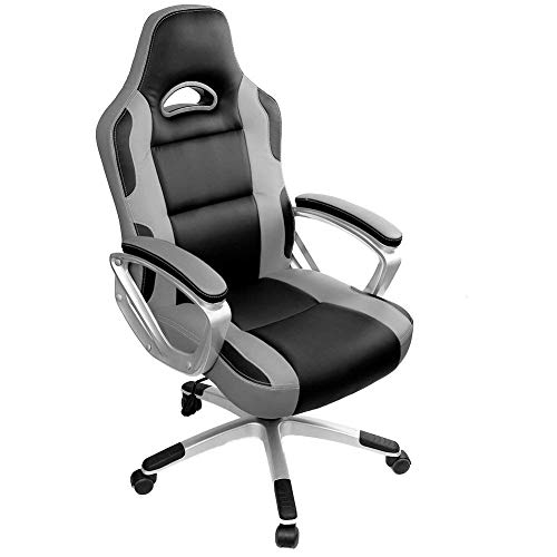 IntimaTe WM Heart Racing Chaise de Gamer Professionnel Siège de Bureau Fauteuil de Gaming Ergonomique Dossier Haut Inclinable en Similicuir pour PC Joueur (Gris)