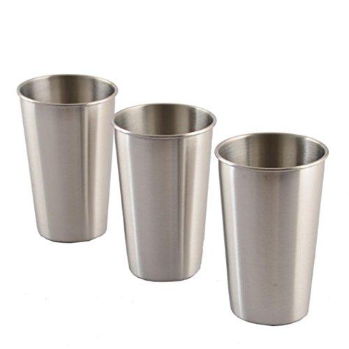 Manum, Wasserbecher, 3 Stück,Edelstahlbecher für Saft, Bier, Portionierungsbecher für Zuhause oder Reisen Einheitsgröße 350ML