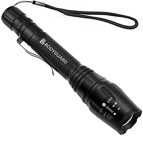 Bodyguard Premium Outdoor Tactical LED Torch Light, IPX-6 Waterproof Ultra Bright 1200 Lumen CREE LED Flashlight with Clip, 5-Mode Adjustable Focus , Attack Head, Powered by 18650 Batteries (Battery Not included)