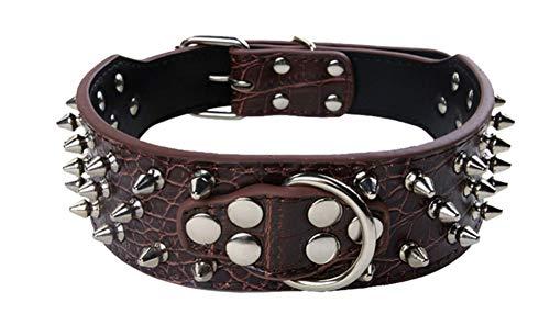 Fully Hundehalsband Halsband Pilz Nieten PU Leder Halskette Kragen Punk Blogger Verstellbar Welpen Labrador Huskie (S, Dunkel Braun) - Pilz Braun Leder