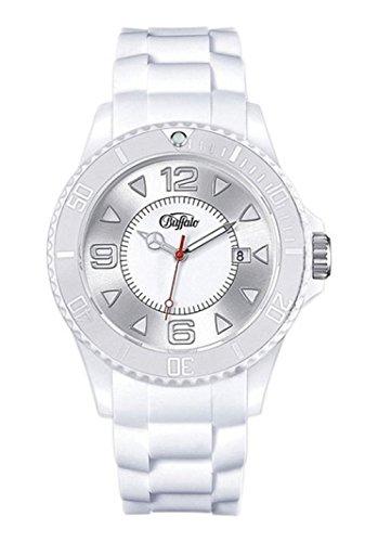 BUFFALO Armbanduhr mit Silikonband weiß Quartzwerk und Mineralglas