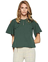 Stalk Buy Love Women's Crepe Olive Dione Cut Out Top