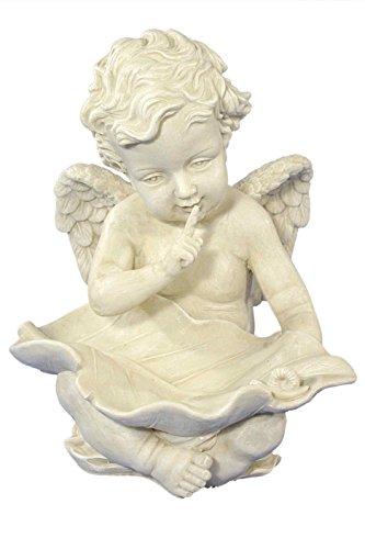 Casa Collection 07750 Engel, Vogeltränke mit Schnecke, 29 x 26 cm, antikweiß