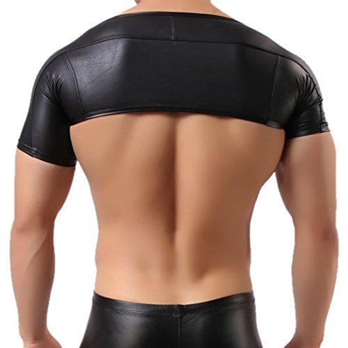 iEFiEL Herren kostüm Arm Hülsen Wetlook Hauteng Muskelshirt Kurz (Männer Kostüme Armee)