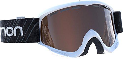 Salomon Kinder Skibrille (6-12 Jahre) für Brillenträger, Für verschiedenste Wetterverhältnisse, Orangefarbene Scheibe (auswechselbar), Airflow-System, schwarz/weiß, Juke Access, L39137400