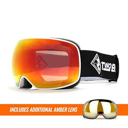 Two Bare Feet Summit XL auswechselbarem Objektiv Snow Skibrille White / Revo Red + Additional Amber Lens xl