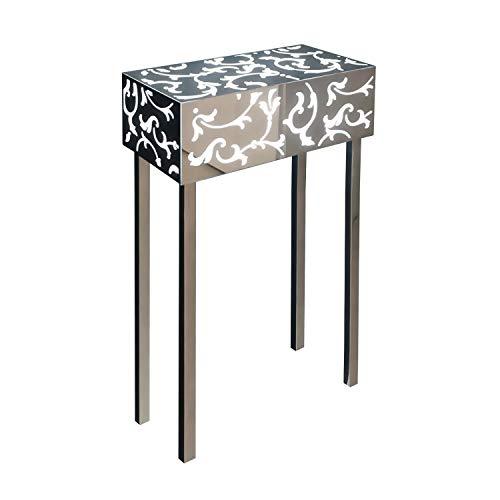 INSEGNESHOP Konsole Beistelltisch Nachttisch Cubo Plexiglas, Lampe in Stahl hell mit Spiegel und Plex weiß/außen Garten Wohnzimmer Schlafzimmer