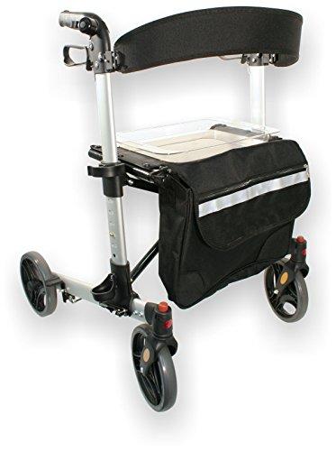 FabaCare Premium Alu-Rollator Set LR170, Vollausstattung, Leichtgewicht-Reiserollator, doppelt faltbar für Kofferraum, Höhe verstellbar, mit FabaCare Sicherheitsreflektoren